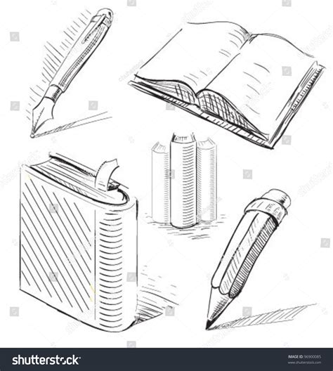 drawing book pictures books pen pencil office stuff set stock vector 96900085