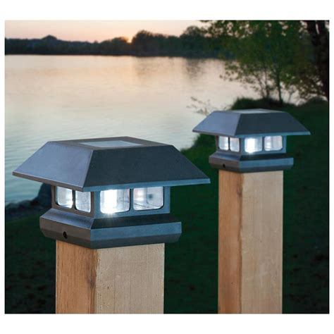 Outdoor Patio Solar Lights 2 Solar 4 Quot Post Lights Outdoor Landscape Fence Railing Mount Black Or Brown New Ebay
