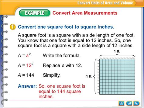 sq in to sq ft exle 1 convert area measurements ppt download