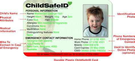 child identification card template child id card template emergency preparedness manual emp