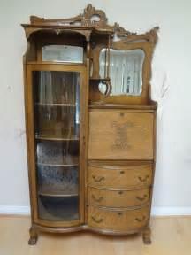 antique american art nouveau oak secretary desk display