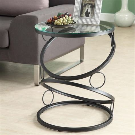 glass side tables for living room modern round end table black metal glass side accent home