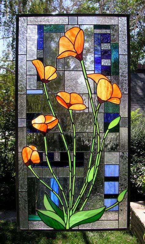 california poppies geometric 18 75 quot x 36 5 quot stained glass window panel beautiful