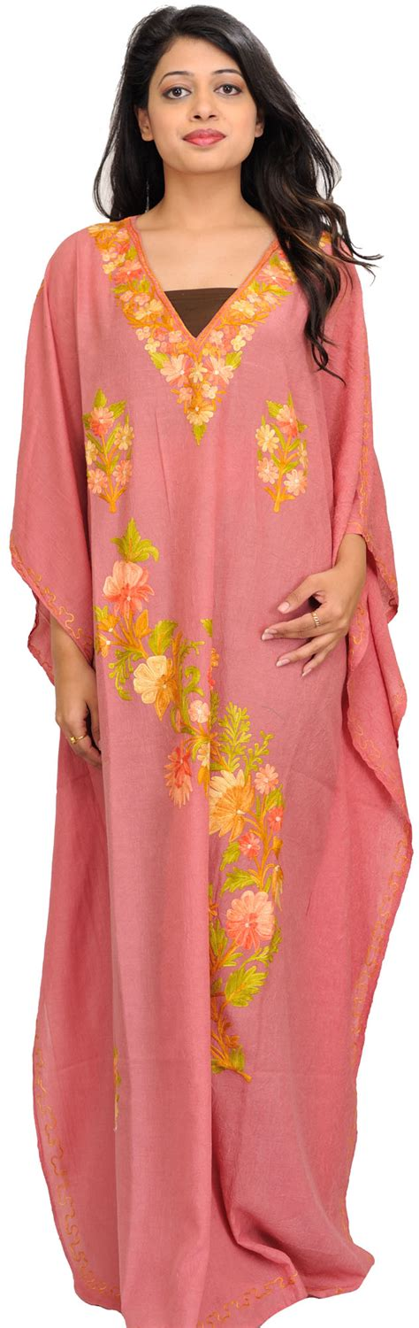 dusty ari embroidered crushed kaftan from kashmir