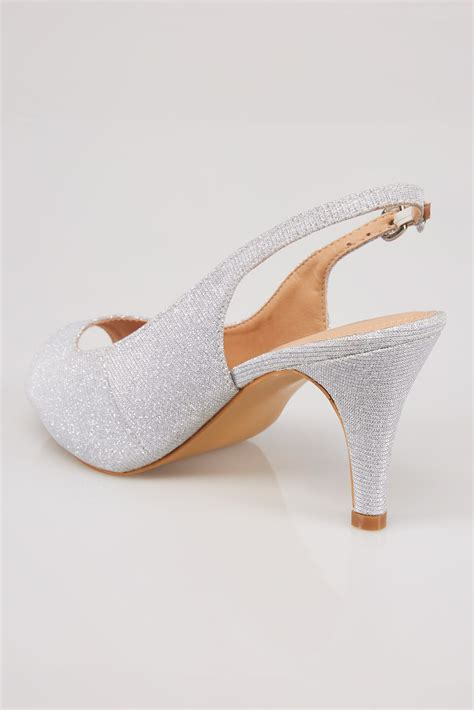 Anya V2 Patent Lower Heel silver glittery peep toe sling back heels in eee fit