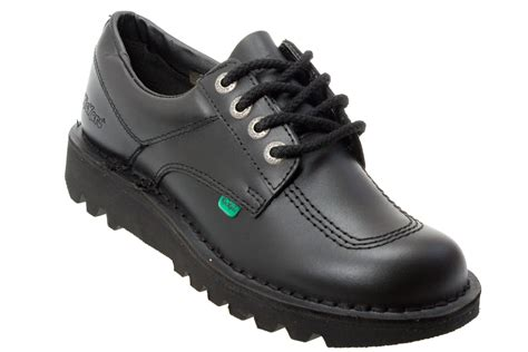 kicker shoes kickers kick lo m mens black leather school shoes