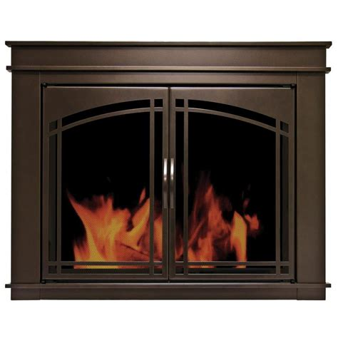 Pleasant Hearth Glass Fireplace Doors Shop Pleasant Hearth Fenwick Rubbed Bronze Medium Cabinet Style Fireplace Doors With Smoke