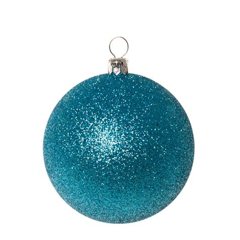xmas baubles pack of 6 x 80mm aqua turquoise glitter