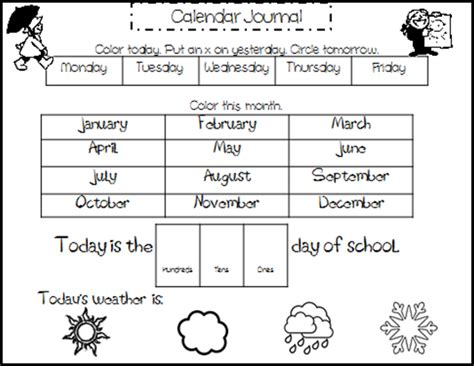 printable kindergarten calendar worksheets kreative in kindergarten calendar journal with different