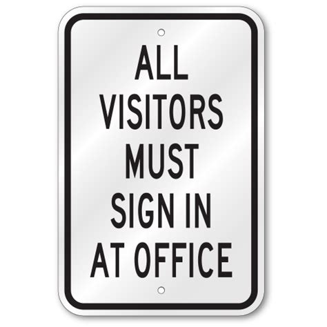 all visitors must sign in template all visitors must sign in at office sign ps04g89