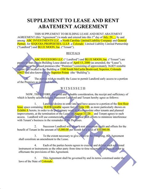 Rent Abatement Letter Sle Rent Abatement Agreement Realcreforms