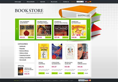 Book Store Oscommerce Template 26317 Bookstore Website Template