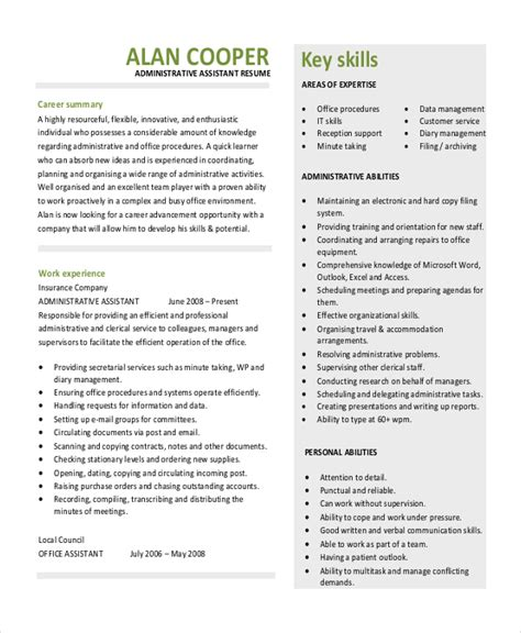 resume template for administrative position 10 executive administrative assistant resume templates