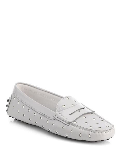 polka dot loafers tod s polka dot leather loafers in beige grey lyst