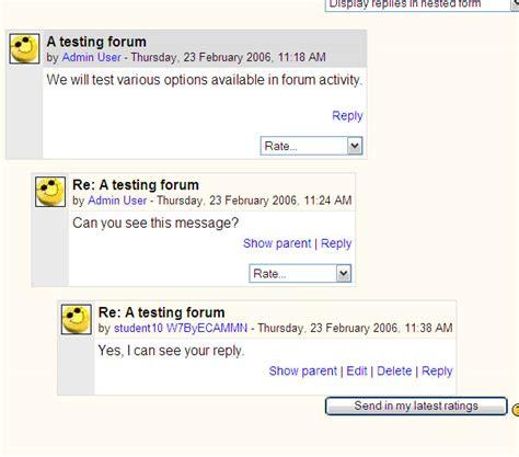 one forum tests forum moodledocs