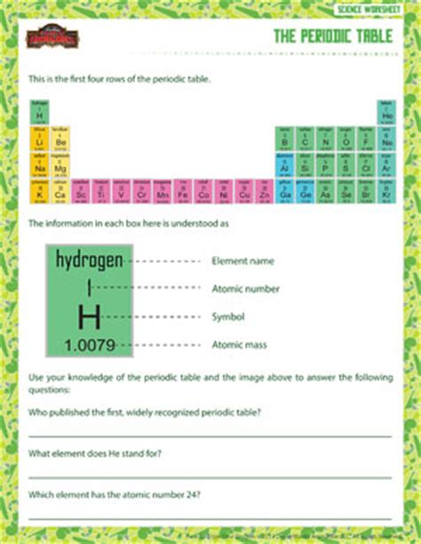 Printable Periodic Table For 6th Grade | science for 6th graders worksheets worksheets