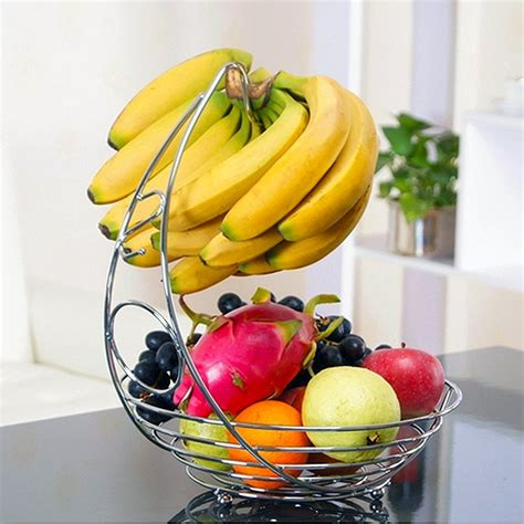 amazon com fruit basket with banana holder chrome metal
