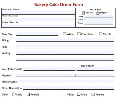 16 Cake Order Form Templates Sle Templates Cake Order Form Template Pdf