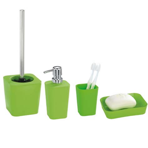 Green Bathroom Accessories Wenko Rainbow Bathroom Accessories Set Green At Plumbing Uk