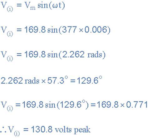 instantaneous voltage across resistor formula sinusoidal waveform or sine wave in an ac circuit