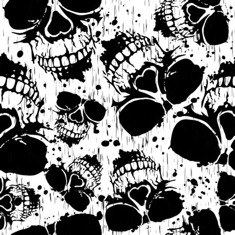 grunge background pattern vector skull grunge seamless pattern black vector vector