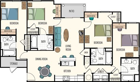 four bedroom floor plan floor plans hasbrouck managementhasbrouck management
