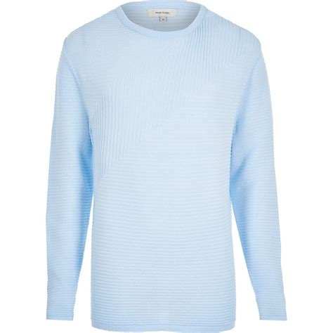 Light Blue Sweater by River Island Light Blue Ribbed Sleeve Sweater In Blue