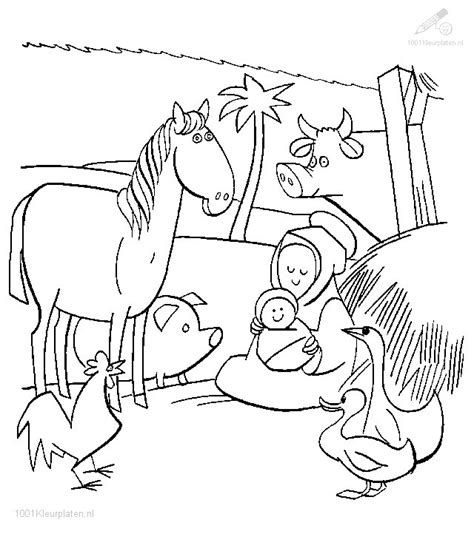 nativity scene animals coloring pages kerststal kleurplaat