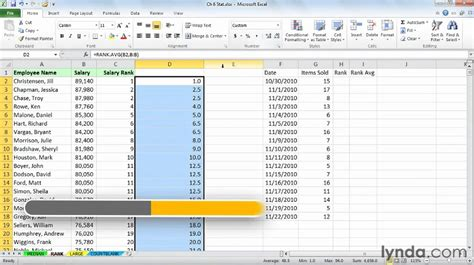 excel 2010 sorting tutorial excel tutorial how to rank data without sorting lynda