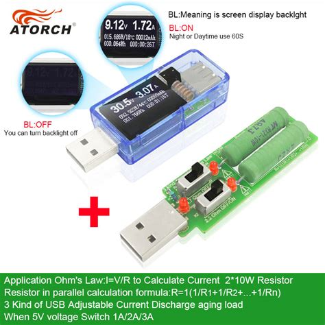 Dc Voltmeter Usb Tester atorch usb tester load dc digital voltmeter erimetro power bank charger indicator car