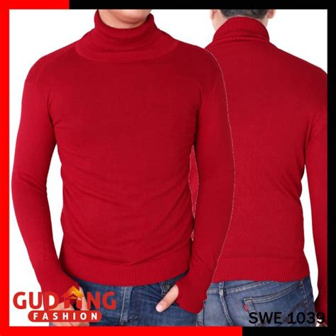 Sweater Rajut Daisuki Navy Cowo Keren sweater pria keren kerah tinggi rajut tebal merah swe 1039 gudang fashion
