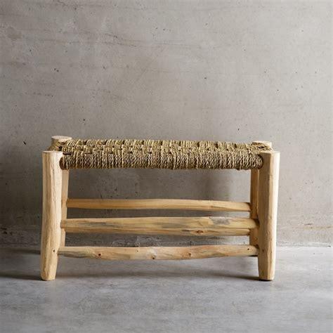 taburete la cuerda taburete bajo doble asiento madera y hojas de palmera