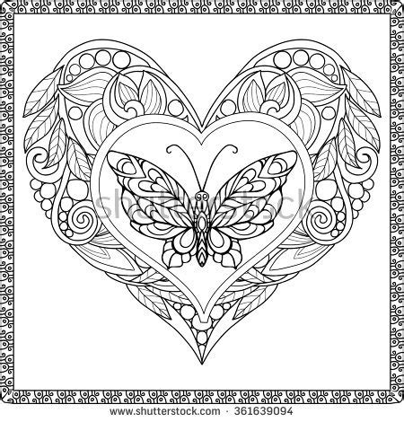 heart butterfly coloring page hand drawn butterfly zentangle style inspired stock vector