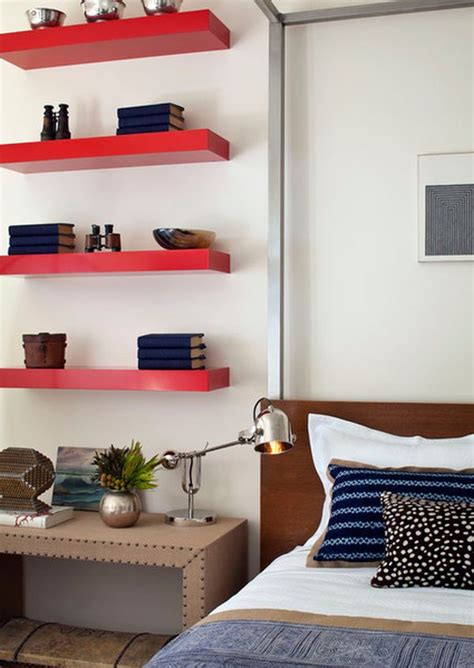 bedroom wall shelves simple functional and space saving floating wall shelving