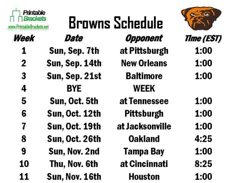 Cleveland Browns Schedule Printable