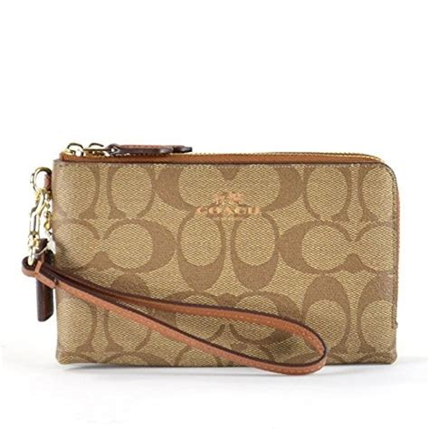 Coach Signature Pvc Small Wallet coach signature pvc corner zip wristlet 64131 khaki saddle apparel accessories handbag