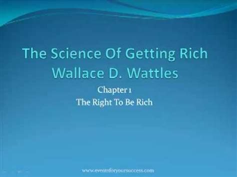 The Science Of Getting Rich 1 the science of getting rich chapter 1 by wallace d wattles