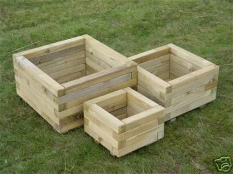 Garden Tubs And Planters by Set Of 3 Square Shaped Wooden Tubs Garden Planters Ebay