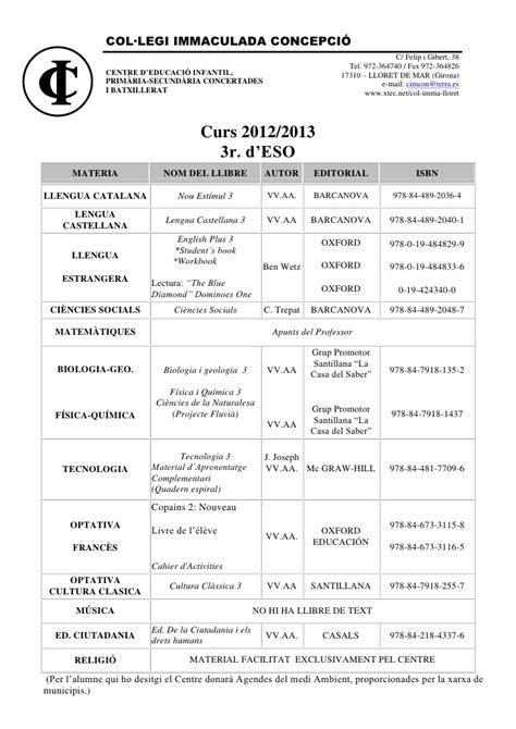 Llibres de text curs 12-13
