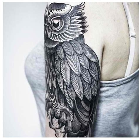 quarter sleeve owl tattoo raven half sleeve tattoo on tattoochief com tattoos