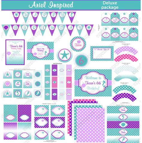 free printable ariel birthday decorations ariel inspired printable deluxe package ariel party