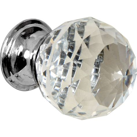 glass faceted knob chrome base toolstation