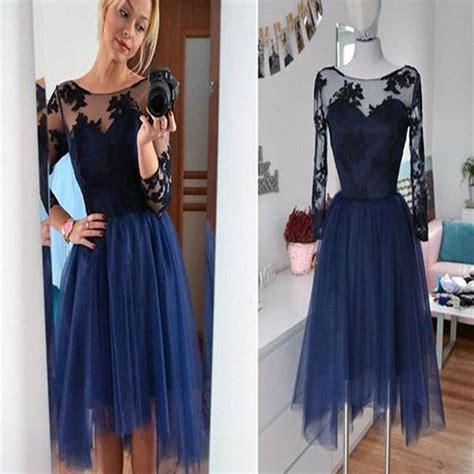 Dress Velvet Basic Bludru Diskon navy sleeve lace see through tulle simple modest casual homecomin sposabridal