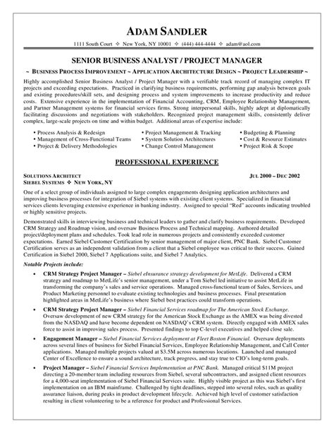 Business Process Analyst Sle Resume by Business Analyst Resume Sle Work Data