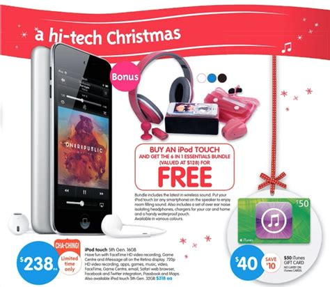big w christmas sale ipod touch bundle itunes card