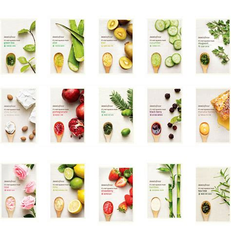 Masker Innisfree Di Korea innisfree it s real squeeze mask sheet 7 pcs set 15 kinds made in korea ebay