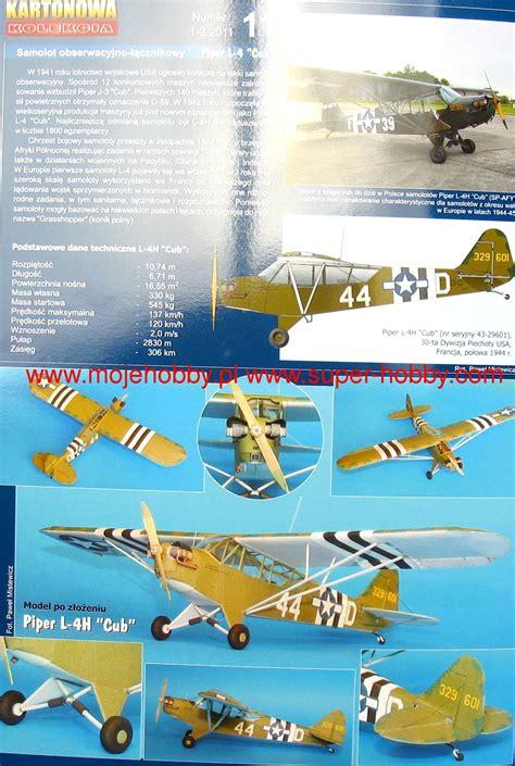 samolot obserwacyjno łącznikowy piper l 4h cub kartonowa