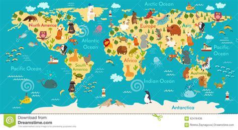 map of da world animals world map stock vector image 62418436 scener