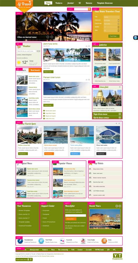 responsive joomla travel ii template sj travel ii