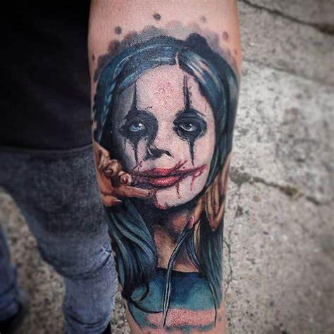 evil woman tattoo designs cool joker like colored portrait style forearm of